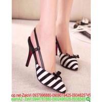 Giày cao gót phới sọc trắng đen sành điệu GCN195