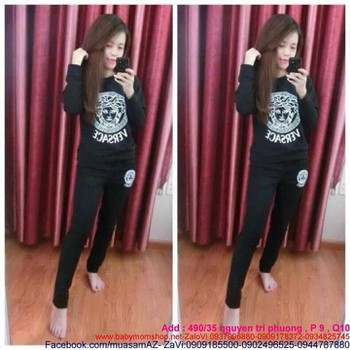 Đồ bộ mặc nhà dài tay hình versace thun cotton cao cấp NN343