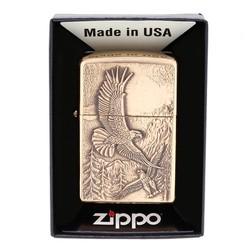 Zippo Lighter Where Eagles Dare Emblem, Brushed Brass 20854