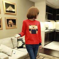 HÀNG NHẬP QUẢNG CHÂU CAO CẤP: Áo len tay dài họa tiết cú mèo đỏ AQC03