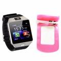 Đồng hồ diện thoại lắp sim,thẻ nhớ DZ09 đen+túi chống nước,bảo vệ hồng