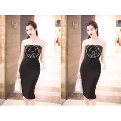 Đầm Cúp Ngực Viền Hoa Hồng