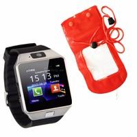 Đồng hồ diện thoại lắp sim,thẻ nhớ DZ09 đen+túi chống nước, bảo vệ đỏ