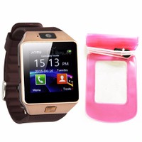 Đồng hồ diện thoại lắp sim,thẻ nhớ DZ09 đen+túi chống nước,bảo vệ đỏ