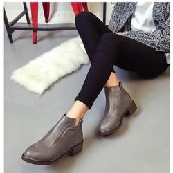 Giày boot nữ cổ ngắn da bóng đế cao chống nước BT212G - Doni86