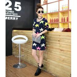 Đầm nữ ôm body phối họa tiết ngôi sao,xinh xắn nữ tính-D3032
