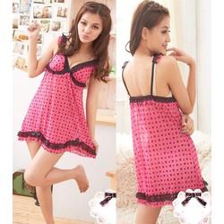 Đầm ngủ thun ren họa tiết tim xinh yêu-DN169