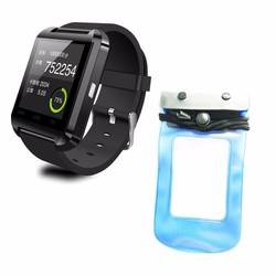 Smartwatch U8 den + Túi chống nước xanh