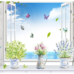 Decal dán tường ba bình hoa xinh