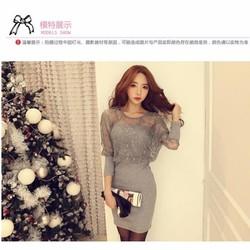 Đầm ren nữ dài tay gợi cảm, thiết kế thuần màu, mẫu Hàn Quốc