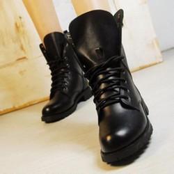 Giày combat boot da trơn 01