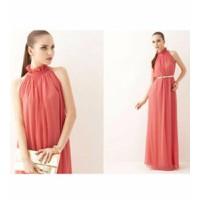 Đầm maxi đỏ cam bèo cổ tuyệt đẹp DH24