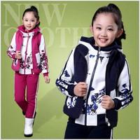 Bộ áo ghile + áo và quần nỉ mùa đông bé gái 4-14 tuổi V185