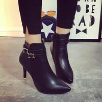 Giày boot nữ cao gót phong cách châu âu BT215D - Doni86