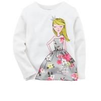 Áo thun tay dài cho bé gái 3 tuổi với họa tiết búp bê thật điệu đà