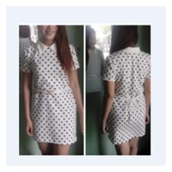 Đầm ôm chấm bi cổ bẻ trắng,đen