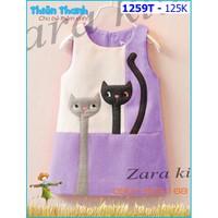Đầm zara thêu 2 mèo dễ thương cho bé