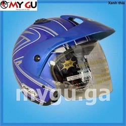 Mũ bảo hiểm cao cấp ASIA 121 - Xanh thái - Tem sọc