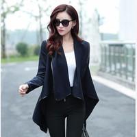 Áo khoác dạ nữbận 2 kiểu phối viền da thời trang Hàn Quốc-AK614