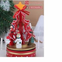 Hộp nhạc cây thông Noel bằng gỗ