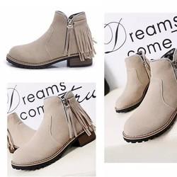 Giày boot nữ cổ ngắn da lộn có rua cá tính BT223Y - Doni86
