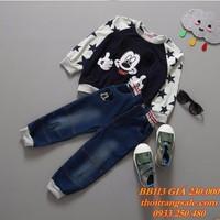 Bộ quần jean áo thun dài tay bé trai BB113