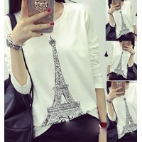 Áo thun nữ hình tháp paris tay dài