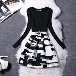 Đầm dạ nữ dài tay trẻ trung, thiết kế họa tiết phối màu sắc nổi bật