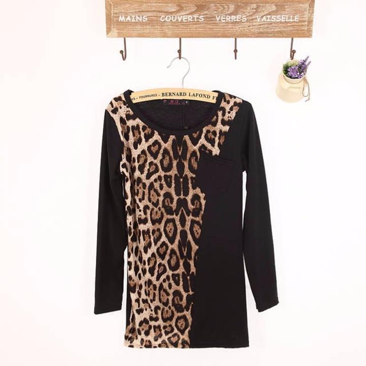 Áo thun nữ dài tay, thiết kế phối họa tiết da báo cá tính, sành điệu 5
