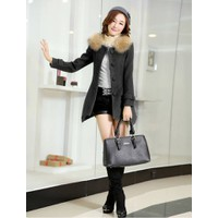 Áo khoác dạ lông cổ màu xám đen