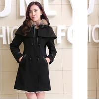 Áo khoác nữ mũ lông màu đen-AK7215