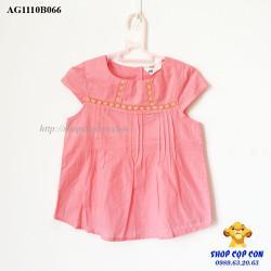 Áo kiểu phối ren màu hồng dâu