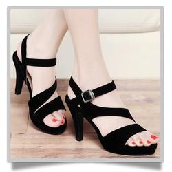 da bò phối kem kt096 -Giày cao gót nhung đen quai cách điệu