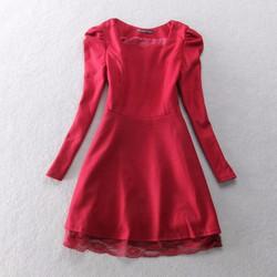 Đầm dạ nữ, tay bồng phối ren xinh xắn - D055