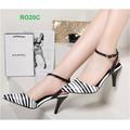 HÀNG CAO CẤP - Giày cao gót sọc trắng đen