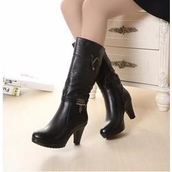 B028D - Giày Boot Da Cổ Cao thời trang