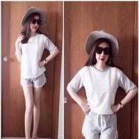 Sét áo ngắn tay và quần short thể thao phối màu hàng cottonQATT261