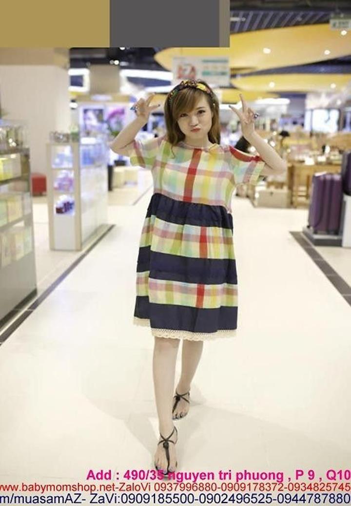 Đầm bầu hàn quốc caro ô màu nổi bật sơi cotton cao cấp DB528 1