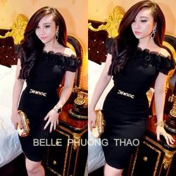 D653 Set nguyên bộ áo đen bẹt vai chân váy kèm belt đồng giống bella