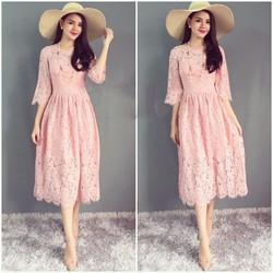 HÀNG ĐỦ SIZE: Đầm Ren Xòe Kiểu Dáng Vintage Cao Cấp