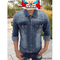 Áo bò nam áo khoác jeans rách xước