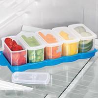Bộ 5 hộp bảo quản thực phẩm tủ lạnh có nắp chính hãng Tashuan