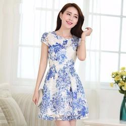 SHOP CÚN-Hàng Nhập HK-Đầm Xoè Hoa Xanh Ren Thêu Nổi Cao Cấp-JI88812