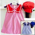 Đầm kate thủy thủ nón bánh tiêu đỏ dễ thương cho bé gái NB50