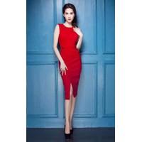 Đầm body đỏ xẻ đùi D331