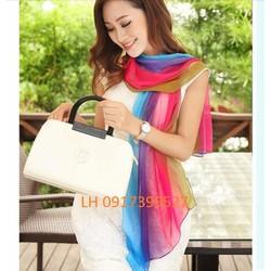 khăn choàng lụa họa tiết nhẹ nhàng phong cách hàn quốc mới  L12181