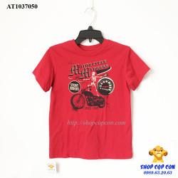 Áo thun hình xe môtô màu đỏ