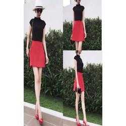 Set Bộ áo đen váy đỏ Ngọc Trinh S095