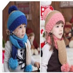 Bộ mũ kèm khăn len cho bé ba tầng màu phong cách hàn quốc
