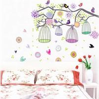 Decal dán tường lồng chim và hoa